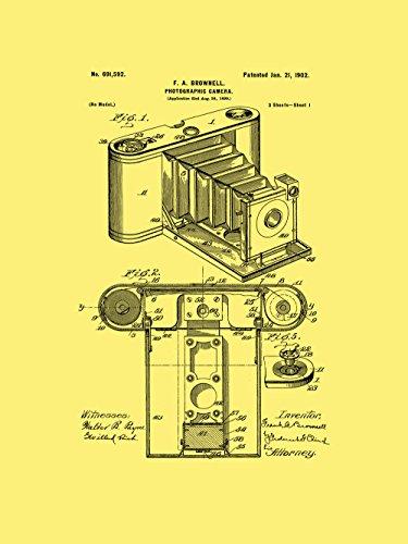 Póster de la patente enmarcada de la cámara réflex de Kodak de 20,32 cm por 25,4 cm, color crema