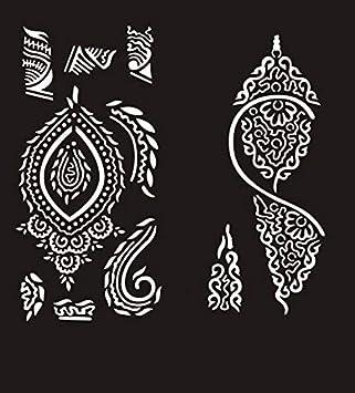 2 Hojas Plantillas de Mehndi tatuaje de henna S229 S230 ...