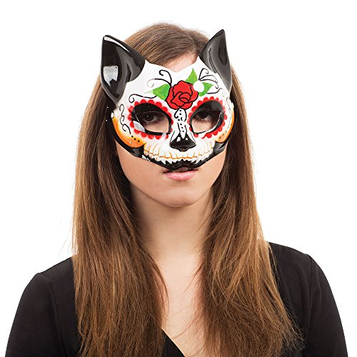Bristol Novelty EM762 Day of the Dead Kitty Half Mask Glasses Frame, Womens, Multi-Colour, One Size]()