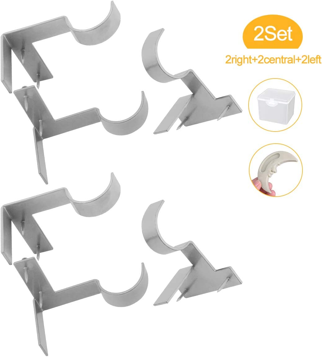 Lnlofen Single Curtain Rod Holders - 2Set(6Pcs) - Curtain Rod Brackets - No Drilling - Adjustable - Tap Right into Window Frame for Window Bedroom Decoration (Silver)