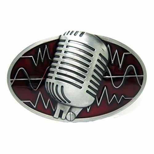 MASOP Oval Microphone Mike Singer Music Belt Buckle for Men Women