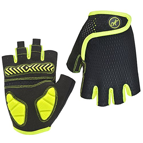 HuwaiH Bike Gloves Gel Pad Shock Absorbing Anti Slip Outdoor Sports Riding Working Half Fingers Cycling Gloves Short Mountain Bicycle Motorcycle Gloves (Green, Large) (Best Autumn Cycling Gloves)