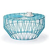 Adeco Accent Round Starburst End Side Tea Table, Iron Wire Weave Netting, Sky Blue Review