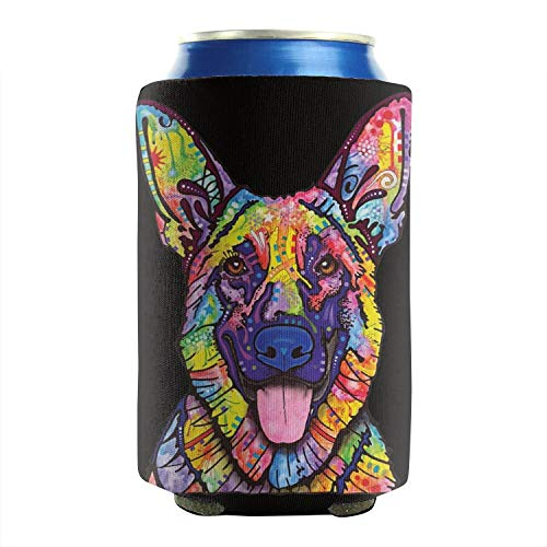 German Shepherd dog Pop Art 12-16 OZ Bottles Neoprene Insulated Beer Can Sleeves Aluminum Bottles Can Sleeve Covers Non-Slip Durable Collapsible 2 Pack Events ()