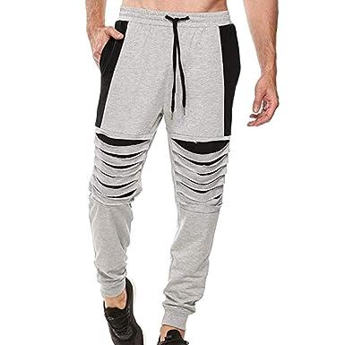 Tefamore Pantalón Chándal Hombre Moda Agujero Roto Pantalones ...