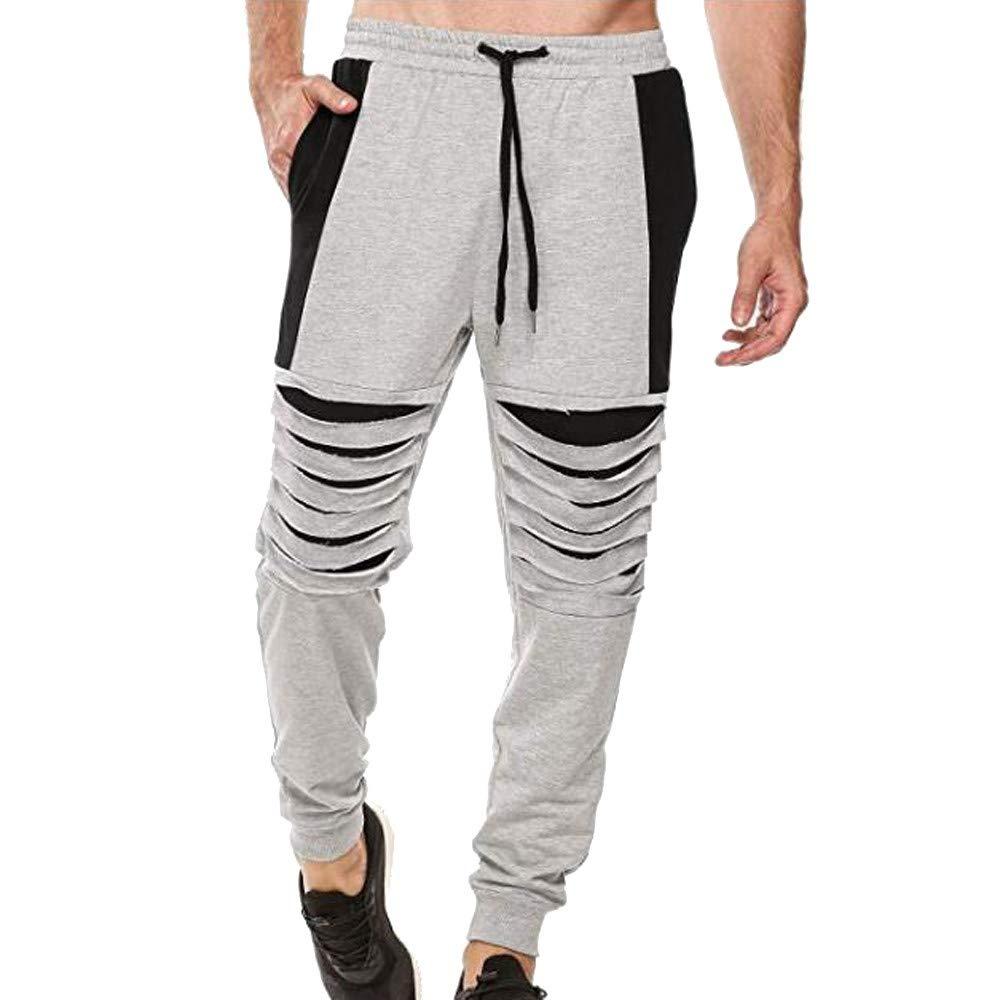 Molyveva Fashion Men Casual Broken Hole Pocket Sweatpants Sport Jogger Trousers