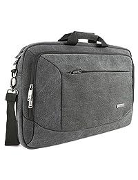 """Laptop Messenger Bag, Evecase 17.3"""" Canvas Messenger Bag - Dark Grey w/ Handles, Shoulder Strap, and Multiple Accessory Pockets (for 17.3 in laptops, ultrabooks, or tablet pc)"""