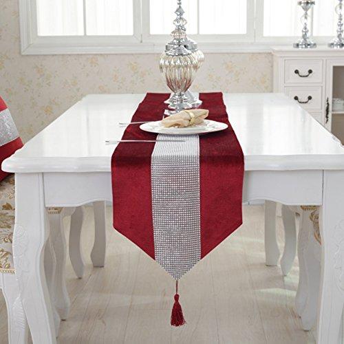 JIAN YA NA Camino de mesa hecho a mano elegante estilo natural con tiras de diamantes y borlas para bodas y dias festivos, poliester y mezcla de poliester, Rojo, 32 * 180 cm