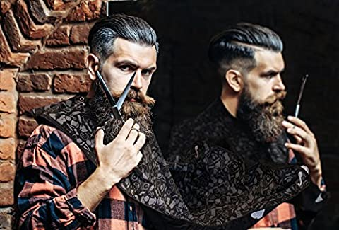 Bare Knocker Beard Bib Hair Catcher - Beard and Mustache Trimming and Shaving Apron - Grooming Cape with Suction Cups attach to Mirror - Keeps Clean Sink and All Happy - Perfect Gift for (Beard Trimmer Japan)