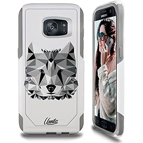 Galaxy S7 Case Unnito [Custom] Dual Layer - Shock Protection [Hybrid Cover] - ( White - The Wolf ) Sales