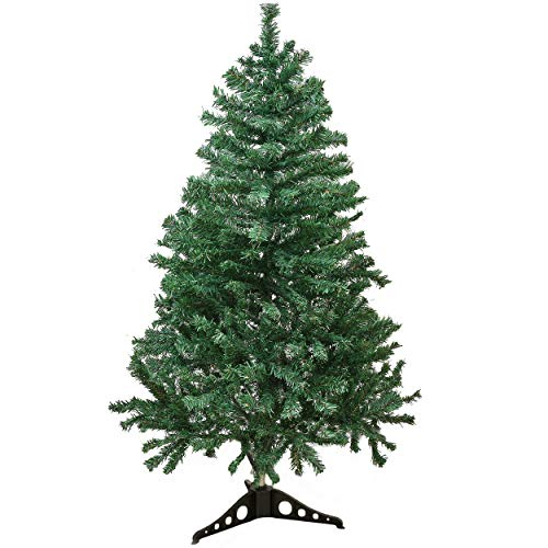 Holiday Essence 4 Foot Christmas Tree, 300 Tips Artificial Green Canadian Pine Tree, Unlit Premium Hinged 4 Ft Tall, PVC Base (Trees M&s Christmas)