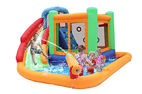 Bestparty Inflatable Spin Combo Jumper Bounce House and Water Slide Combo with Blower for kids - Bounce Houses Water Slides