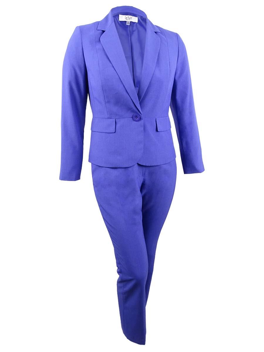 Le Suit Women's Petite Novelty 1 BTN Notch Collar Pant Suit, Marino Blue, 12P by Le Suit