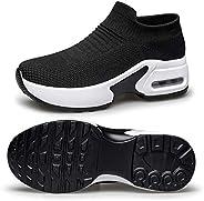 VANSKELIN Slip On Walking Shoes for Women Air Cushion Sock Sneakers Lightweight Breathable Work Hiking Running