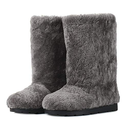 - Gray Sheepskin Winter Boots for Women, Long Boots, Snow Boots, Furry Boots, Color Boots, Mukluks, Yeti Boots, Eskimo Boots