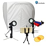 LimoStudio Table Top Studio 30'' Photo Light Box Tent, 5500K 600 Lumen LED Lighting Kit with Color Gel Filter, Camera Tripod & Cell Phone Holder, AGG1577
