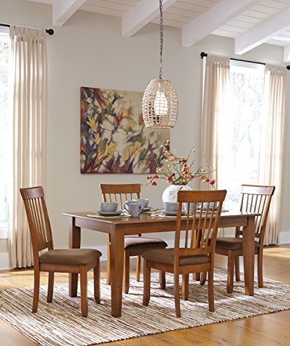 Berring Rustic Brown Dining Room furniture Set, Rectangular Dining Room Table w/ 4 Upholstered Side Chair