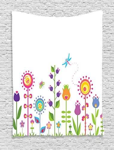 Ambesonne Tulip Tapestry, Cute Floral Set with Different Type of Flowers on Grass Hope Seasonal Illustration Art, Wall Hanging for Bedroom Living Room Dorm, 40 W X 60 L Inches, (Tulip Floral Tapestry)