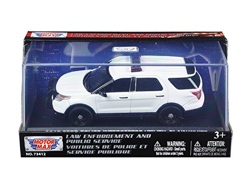 - 2015 Ford Police Interceptor Utility Plain White Car In Display Showcase 1/43 by Motormax 79476