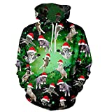 Uideazone 3d Cristmas Cat Pullover Hoodie Juniors Funny Xmas Hooded Sweatshirt Green,Asia L = US M,Green Cats