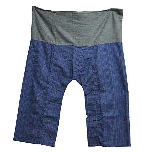 Mr.Bangkok 2 Tone Thai Fisherman Pantaloni Pantaloni Yoga Taglie gratis Taglie forti Cotone Grigio e Blu scuro