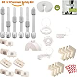 PREMIUM 30-in-1 Baby / Toddler Proofing Safety Kit - 6 Child Safety Cabinet Locks with Adjustable Strap - 10 Outlet Covers - 8 Corner Protector - 5 Stove Knob Protectors - 1 Door Finger Pinch Guard
