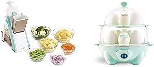 DASH Safe Slice Mandoline, Aqua & Deluxe Rapid Egg Cooker: Electric, 12 Capacity for Hard Boiled, Poached, Scrambled, Omelets, Steamed Vegetables, Seafood, Dumplings & More, Aqua