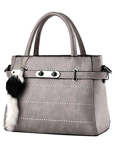 A Leggero Tracolla Nuove Leather Menschwear Buio Pu Lucida Tote Borsa Signore Grigio Bag q7nHwZx8
