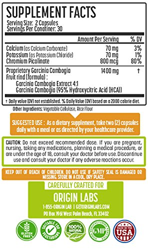 Garcinia Cambogia Extract Pure 95% HCA Natural Appetite Suppressant, Carb Blocker, Fat Burning Weight Loss Supplement. 60 Capsules. 1400mg Per Serving