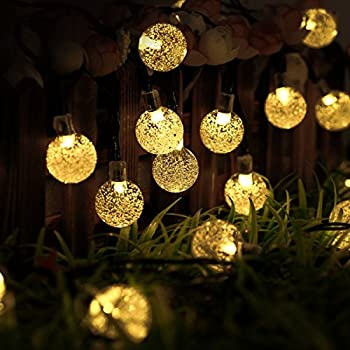 Outdoor Solar Lights Strings, LTROP 20ft 30 LED Waterproof Fairy Bubble,  Crystal Ball Lights