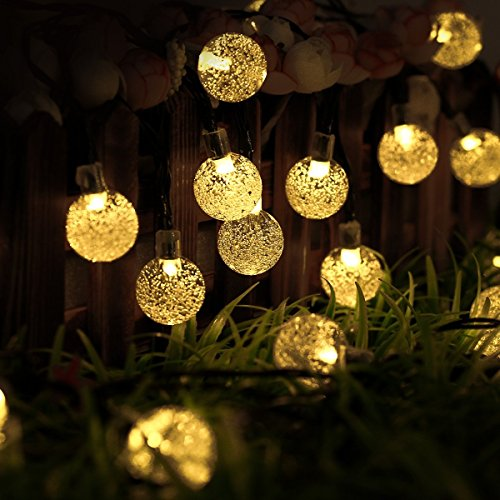 Outdoor solar lights strings ltrop 20ft 30 led waterproof fairy bubble crystal ball lights decorative globe string lights for indoor garden home patio