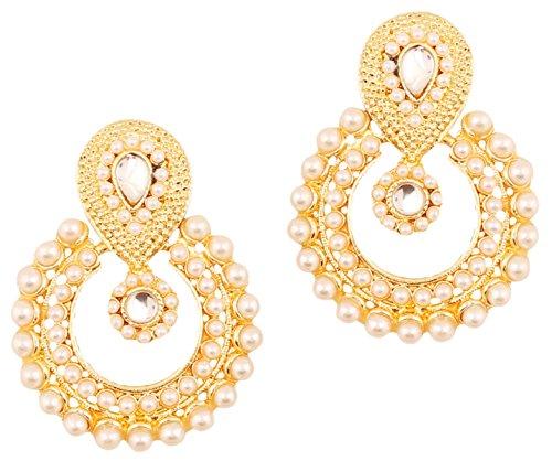 Earrings Indian Designer (Touchstone Indian Bollywood Chandbali Moon Kundan polki Faux Pearls and Blue Sapphire Rhinestone Long Bridal Designer Jewelry Chandelier Earrings for Women in Gold Tone)