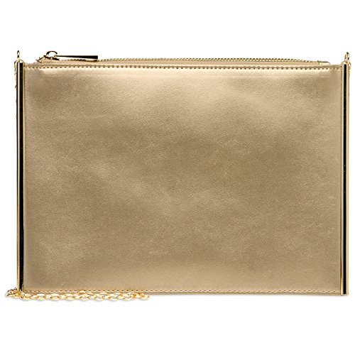 Elegant TA406 Chain Gold Flat Handbag Ladies Detachable with Evening Bag CASPAR wEOq6