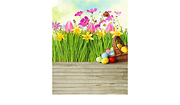 4x6ft Easter Eggs Photography Backdrop Spring Meadow Background Sweet Flower Old Wood Floor Kid Children Baby Toddler Infant Newborn Artistic Portrait Photo Studio Props Video Drape Wallpaper