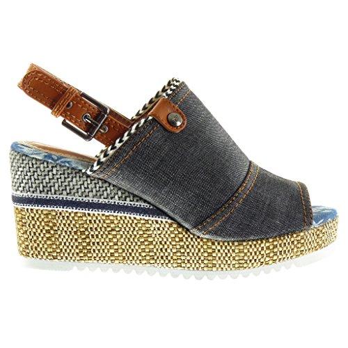 Toe Peep cm Sandals 8 Mules Platform Platform Topstitching Fashion Finish Black Shoes Wedge 5 Braided Seams Women's Open Angkorly Buckle qXBxgYwUpX
