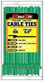 Pro Tie GR6QO100 5.5-Inch Quik Off Tear Away Cable Tie, Green Nylon 100-Pack