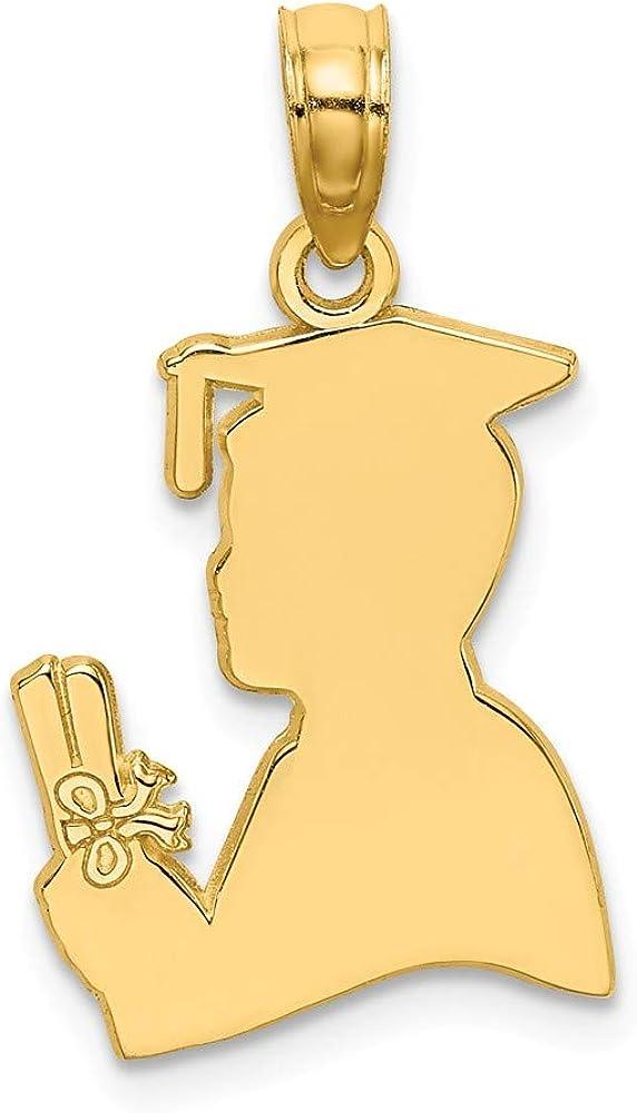 High Polish Pendant FB Jewels 14K Yellow Gold Male Graduation Profile with Diploma