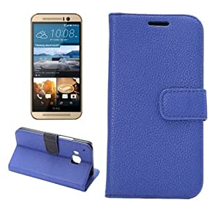 Texture lichis Funda con tapa Holder Case Cover & Card Wallet Slots & para HTC M9 (Dark Blue)