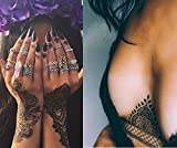 10 Sheets Black Lace Tattoos Temporary Paper Sexy Body Tattoo Sticker Water Transfer Tattoo for Professional Make Up Dancer Costume Parties, Shows (TJ-B02)