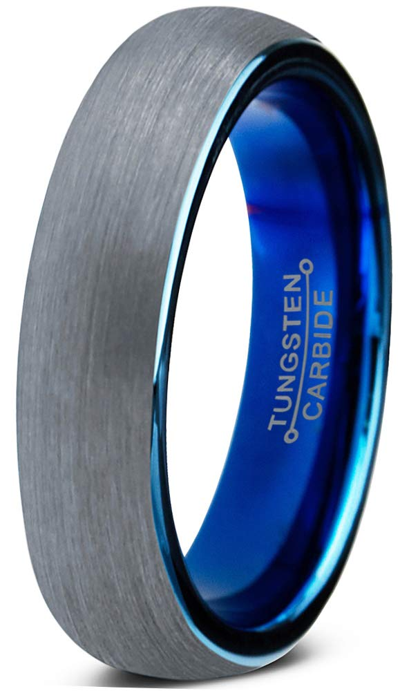 Charming Jewelers Tungsten Wedding Band Ring 4mm Men Women Comfort Fit Grey Blue Dome Brushed Size 8