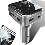 Heiyo Bluetooth FM Transmitter, Radio Adapter Audio Receiver Stereo Music Player – Dual USB 2 Port Car Charger│Window Breaker│Hands Free Calling│Voice Navigation│Input TF Card Slot
