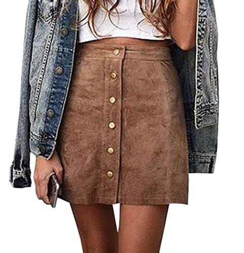 Womens High Waist Suede Button Closure Plain A-line Mini Short Skirt (M, Brown)