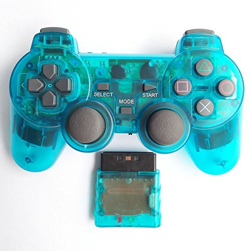 Bowink Wireless Gaming Controller for Ps2 Double Shock - Clear Blue