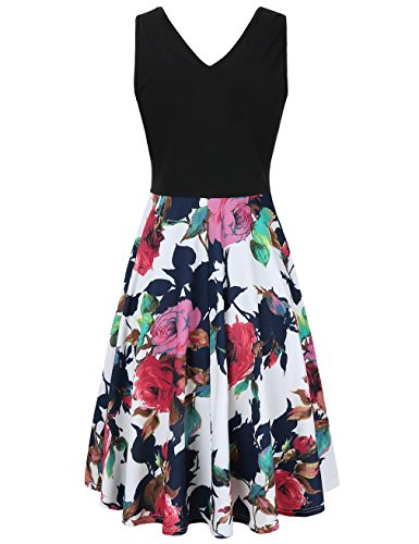 Women Floral Elegant Dresses with White Red Sleeveless Pockets Cocktail UXELY Party SUxqdTwx6