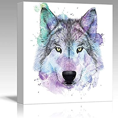Colorful Splattered Watercolor Style Wolf - Canvas Art