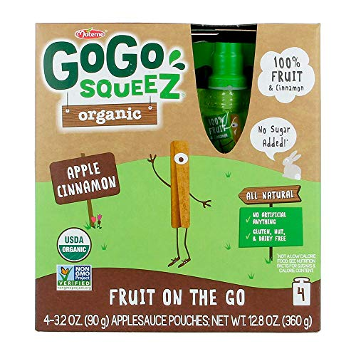GoGo squeeZ Organic Applesauce on the Go, Apple Cinnamon, 3.2 Ounce (4 Pouches), Gluten Free, Vegan Friendly, Healthy Snacks, Unsweetened Applesauce, Recloseable, BPA Free Pouches