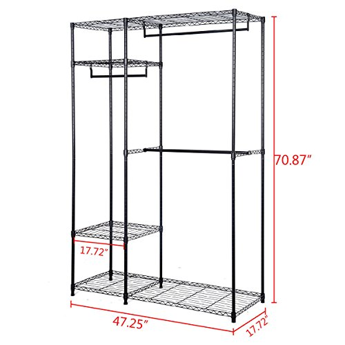 Closet organizer garment rack portable 48 inch x18 inch x71 inch brand new and large storage capacity clothes hanger home shelf by beautifulwoman