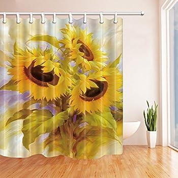 MYPOP Sunflower Shower Curtain Vintage Rustic Looking Grunge