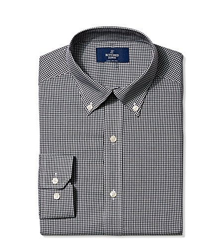 Buttoned Down Men's Non-Iron Fitted Button-Collar Dress Shirt, Black Small Gingham, 17