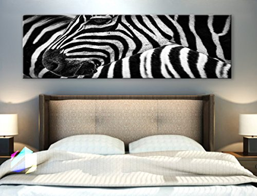 Original by BoxColors Single panel 3 Size Options Art Canvas Print Zebra Black and White animal Wall Home Office decor (framed 1.5